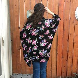 bobeau floral kimono cover up